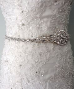 Wedding sash, Bridal belt , Bridal sash - satin ribbon with crystal and rhinestone beaded applique sash, bridal belt on Etsy, $160.00