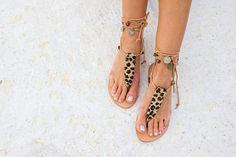 RiRiPoMLeather Boho SandalsPom Pom Sandals Greek Sandals