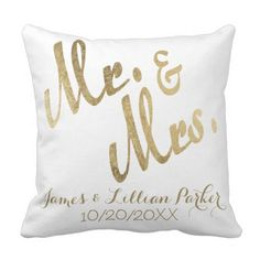 Fake Gold Mr. and Mrs. Monogram Wedding ceremony Throw Pillow. >> See even more at the photo