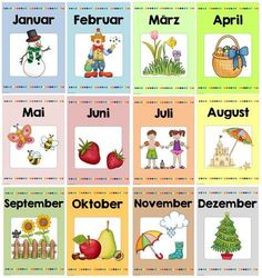 Ideenreise: Monthly posters as a package 2020 - ideas kindergarten gesta . Welcome September, Kindergarten Portfolio, Seasons Activities, Feelings Activities, German Grammar, German Language Learning, Learn German, Pre School, Art Education