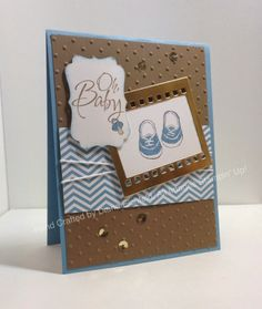 added a piece of Soft Suede Perfect Polka Dot Embossing folder Marina Mist DSP frame with a piece of filmstrip that I cut using the Gold Foil Paper Baby Kind, Baby Party, Card Tags, Handmade Baby, Kids Cards, Greeting Cards Handmade, Homemade Cards, Stampin Up Cards, Cardmaking