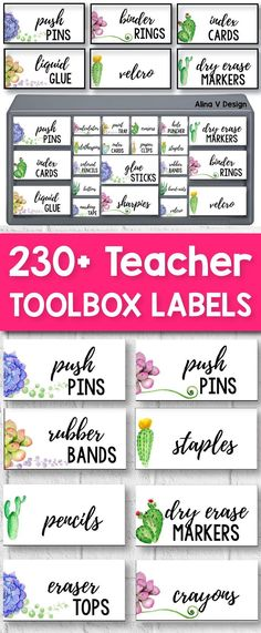 """Teacher Toolbox Labels Editable Succulent Classroom Decor Succulent THEME editable teacher toolbox labels that are designed to fit the """"Stack-on"""" 22 draw Classroom Organization Labels, Teacher Desk Organization, Teacher Toolbox Labels, Teacher Office, Teachers Toolbox, Organizing Labels, New Teachers, Organization Ideas, Organized Teacher"""