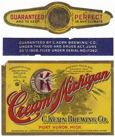 Vintage Cream of Michigan Beer label from the C. Kern Brewing Company in Port Huron, Michigan