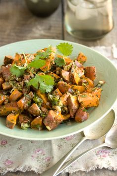 Roasted sweet potato and pecan salad.  Good side dish for a BBQ, I think!