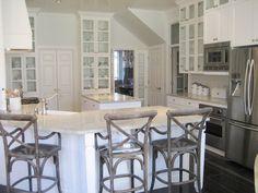 White granite countertops: Kashmir granite. Also used Walker Zanger glazed terra cotta tile backsplash.