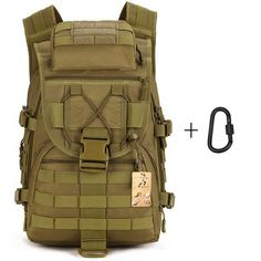 Tactical Backpack Large Sport Military Backpack Gear Assault Pack MOLLE Bag Digital Rucksacks Camping with Carabiner for Outdoor Hiking Climbing Trekking War Game >>> Discover this special product, click the image : Backpacking gear Molle Bag, Molle Backpack, Tactical Backpack, Tactical Gear, Tactical Packs, Cool Backpacks For Men, Men's Backpacks, Nylons, Assault Pack