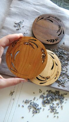 Wood Coasters - Set of 2 - Engraved Wood Coasters - Lavender - Dremel Projects Ideas Laser Art, Laser Cut Wood, Laser Cutting, The Coasters, Wooden Coasters Diy, Laser Cutter Ideas, Laser Cutter Projects, Into The Woods, Hand Kunst