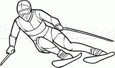 alpine skiier drawing
