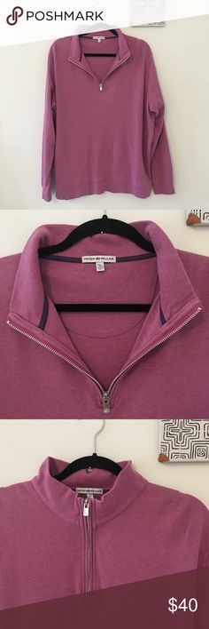 Peter Millar Men's Quarter Zip Pullover NWOT This Peter Millar pullover is in AMAZING condition, NWOT. Unique purple-ish pink color. Size XL. The perfect gift for the posh man in your life. 100% cotton. Peter Millar Sweaters Zip Up