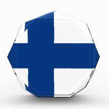 Flag of Finland Acrylic Award flag, nation, banner, award, gift, acrylic, octagon, country, zazzle, smallbiz, ecommerce, dww25921