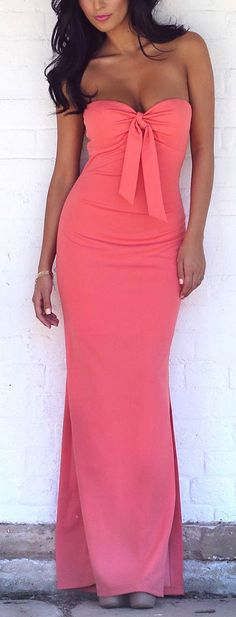 Coral Bow Maxi Dress ♥ for Bridesmaid..