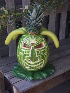 Image result for tiki watermelon carving