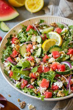 Watermelon Cucumber Salad with Feta and Lemon Dressing