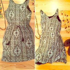 LUCKY BRAND Chic Summer dress- Small Two tassel in front to tighten at the waist. Darling pattern. Bohi-chic  Lucky Brand Dresses