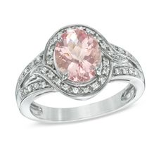 Oval Morganite and 1/10 CT. T.W. Diamond Swirl Ring in 10K White Gold