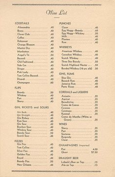 Old menu of drinks from a bar/restaurant in the 1930's/1940's--How I wish I could get a Side Car for forty cents these days!
