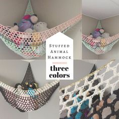 Three Color Stuffed Animal Hammock / Toy by TogetherInLove on Etsy