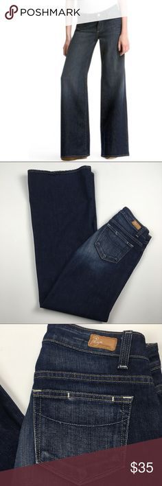 """PAIGE Hillside Wide Leg Mid Rise Dark Jeans Sz 27 PAIGE Hillside Wide Leg Flare Mid Rise Dark Wash Denim Jeans Women's Size 27. Excellent condition! Clean and comes from smoke free home. Questions welcomed. Approx. measurements: Waist: 14.5"""" across Inseam: 34"""" PAIGE Jeans Flare & Wide Leg"""