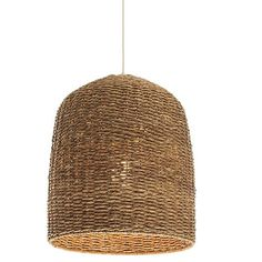 Oversized black metal frame provides the structure, woven lampakanai fiber and wicker the cool, casual look. Breezy, contemporary pendant adds a warm, natu