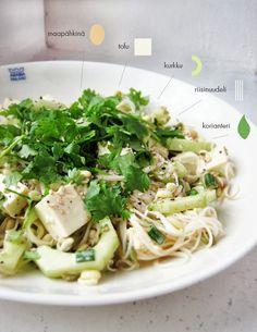 Syötävän hyvä: Tofua ja riisinuudeleita maapähkinäkastikkeessa