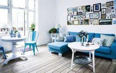 navy blue turquoise aqua white wood / photographs / living room