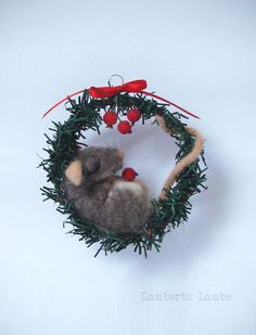 Needle felted Christmas Rat in a wreath, Christmas hanging ornament