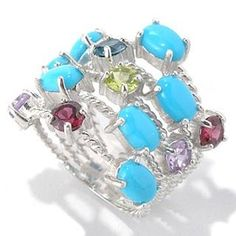 132-325 - Gem Insider Sterling Silver Sleeping Beauty Turquoise & Multi Gem Five-Row Ring