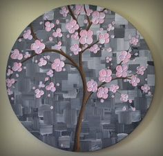 ORIGINAL Art Modern Textured Pink Cherry Blossom Tree Painting