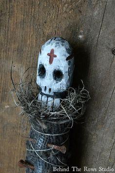 Voodoo Doll Folk Art by BehindTheRowsStudio on Etsy, $70.00