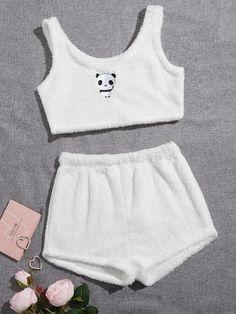 Girls Fashion Clothes, Teen Fashion Outfits, Edgy Outfits, Cute Fashion, Cute Pajama Sets, Cute Pajamas, Pajama Outfits, Crop Top Outfits, Cute Lazy Outfits