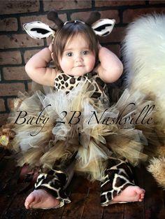 Safari Giraffe Costume With Leggings,  Birthday Tutu  Pageant Outfit of Choice,  Brown GiraffeTutu Baby - Girls 8