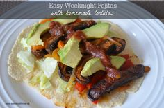 Easy fajitas (including homemade corn tortillas) for any night of the week. #glutenfree #dairyfree #vegan #cleaneating #cincodemayo