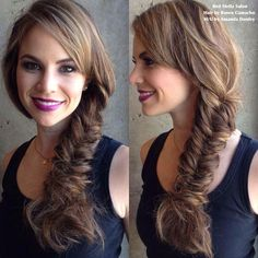Fish tail braid with purple lips! Hair and makeup by Amanda Donley at Red Stella Salon