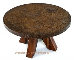 Industrial Chic Round Dining Table by Woodland Creek.  Available in Custom Sizes - Round, Square, Rectangle or Oval.
