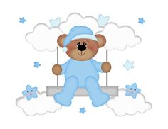 TEDDY BEAR SWING Decal Baby Boy Nursery Wall Art Mural Stickers Star Cloud Decor Kids Blue Room Children's Woodland Animal Bedroom Baby Gift #decampstudios