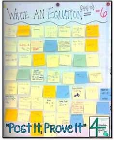 """Here's a nice exit ticket idea called """"Post It, Prove It."""" Students must post an answer to a question to show their learning."""
