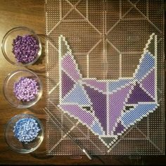 Fox perler beads by Melty Bead Patterns, Pearler Bead Patterns, Perler Patterns, Beading Patterns, Diy Perler Beads, Pearler Beads, Fuse Beads, Art Perle, Iron Beads