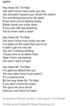 From the first time i heard garth brooks sing this song i for Words to tin man by miranda lambert