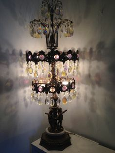 Antique Cherub with Crystals Table Lamp US $539.10 on ebay