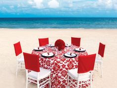 Romantic Red Wedding Collection by Palace Resorts. Love the tablecloth pattern! #colorful #setup #red