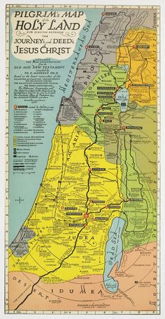MATHESY - Pilgrim's map of the Holy Land : for biblical research, the journey's and deed's of Jesus Christ. - MATHESY, T. – Pilgrim's map of the Holy Land : for biblical research, the journey's and dee - Heiliges Land, Terra Santa, Israel History, Bible Mapping, By Any Means Necessary, Templer, Religion, Bible Knowledge, Old Maps
