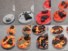 Flaming and Lava Tiles Warhammer Paint, Warhammer Models, Warhammer 40000, Miniature Bases, Warhammer Terrain, Blood Bowl, Tyranids, Wargaming Terrain, Fantasy Miniatures