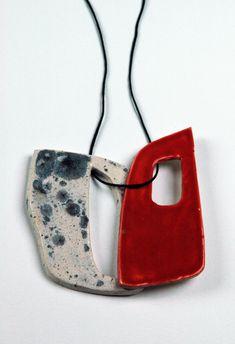 Ceramic Jewelry by Hana KARIM (Slovenia)  [my two favorite things ~ red + muted texture]