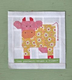 Milk cow quilt block from Holly Hill's Farm Girl Vintage