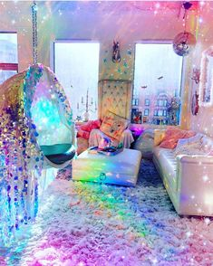 We will be dreaming of this magical room tonight 🌈✨😱 Room Ideas Bedroom, Girls Bedroom, Bedroom Decor, Hippie Bedrooms, Boutique Interior, Magical Room, Hippy Room, Kawaii Room, Rainbow Room