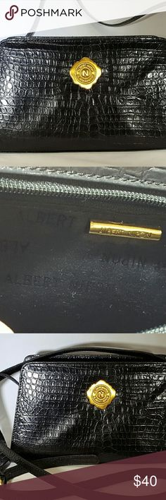 Beautiful Albert Nipon Shoulder Bag Black Crocodile embossed leather. Excellent condition. It is a small shoulder bag , but can easily fit a nice size wallet and extras. Albert Nipon  Bags Shoulder Bags