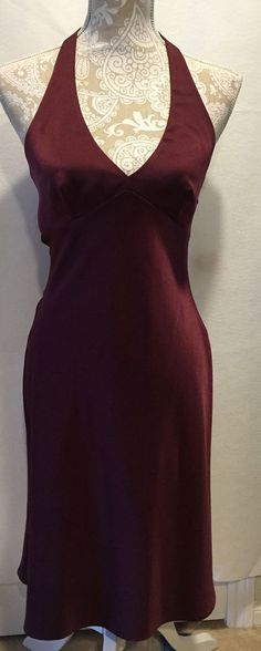 BCBG Max Azaria Cranberry Homecoming Wedding Cocktail Evening Halter Dress Sz 4…