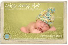 Baby Hat Photo Prop CrissCross Beanie Baby Girl or by TrickyKnits