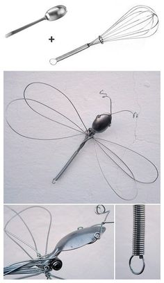 Dragonfly wire sculpture from a whisk and spoon. Dragonfly wire sculpture from a whisk and spoon. Wire Crafts, Metal Crafts, Metal Projects, Welding Art Projects, Sculptures Sur Fil, Silverware Art, Cutlery, Sculpture Metal, Dragonfly Art