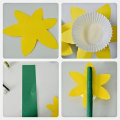 Spring DIY Paper Daffodils - Crafts for kids - Sticky Mud and Belly Laughs Bridal Jewelry - Don't ju Spring Crafts For Kids, Diy For Kids, Toddler Crafts, Preschool Crafts, Diy Flowers, Paper Flowers, Daffodil Craft, Diy Paper, Paper Crafts
